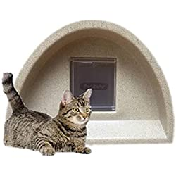 WOW Nouveau Modèle - Niche Abri pour chat/Chat avec carré d'extérieur à rabat
