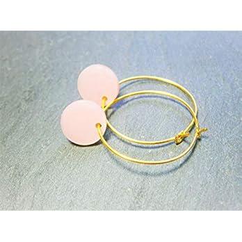 Ohrringe Creolen rosa Perlmutt gold vergoldet