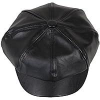 OULII Cappello Visiera Unisex Berretto invernale PU pelle Artificiale Ottagonale(Nero)