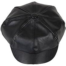 OULII Berretto in cuoio Cappello unisex moderna Cappelli berretti di nero 15bd458c1e5e