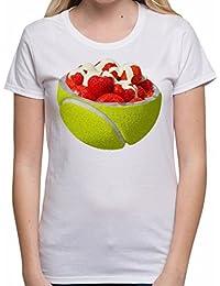 Bang Tidy Clothing Strawberries and Cream Tennis Ball Summer Sport Wimbledon Funny Womens T Shirt