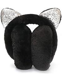 Cherishly Orejeras para mujeres de invierno, cubiertas de calentadores de orejas de gato plegables en 3D Señoras de piel de felpa para niñas Diadema de dibujos animados al aire libre para classical