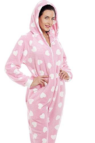 Camille Erwachsener und Kind Herz alles in einem Onesie Pyjama 46/48 PINK - 4