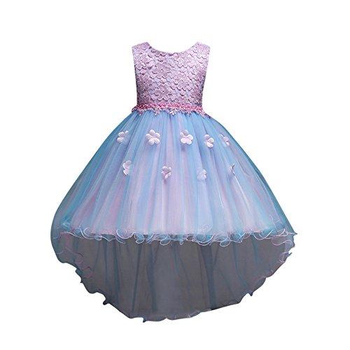 Pageantry Prinzessin Kleider Baby Mädchen Sommer Ärmellos Blumen Spitze Tüll Taufkleid Kinder Hochzeits Festlich Kleider Partykleid Unregelmäßig Kleider Festzug Kleidung