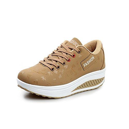 Scarpe da Ginnastica Sportive Outdoor Tennis Running Sneakers (EUR37, Cachi)