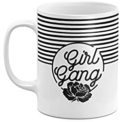 Black & White Girl Gang Minimal Flower Blossom Striped Pattern 11 ounce Ceramic Tea Coffee Mug Taza