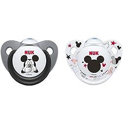 Nuk Mickey & Minnie - Chupetes fisiológicos de silicona T2, 6-18 meses, paquete de 2 [modelos surtidos]