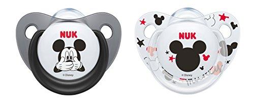 Nuk Mickey & Minnie - Chupetes fisiológicos de silicona T2, 6 - 18 meses, paquete de 2 [modelos surtidos]