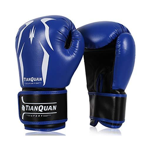 Preisvergleich Produktbild Männer und Frauen Leder Boxhandschuhe Ausbildung Muay Thai Boxsack Mitts Kickboxing Kampf 8-10-12 Oz (Farbe : Blau,  größe : 10oz)