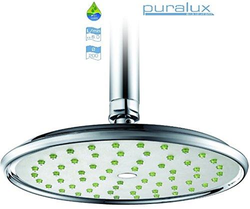 Sivoss/Puralux ECO 220 Klassik Tellerduschkopf - Wassersparender Regenwald-Duschkopf (20cm Durchmesser). Das Venturiprinzip reichert das Duschwasser mit Sauerstoff an und sorgt so für ein erfrischendes Duscherlebnis mit einem dennoch kraftvollen Strahl & senkt dabei auch noch Wasser- und Heizkosten um bis zu 70% (jenach bestehenden Druckverhältnissen)