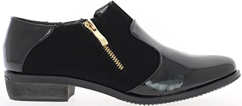 Negro material bi Richelieux de tacón con cremallera de 3cm