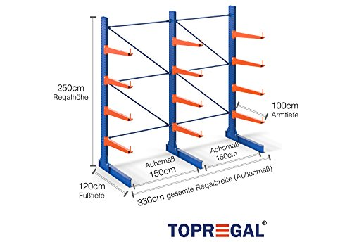 3,3m Regalsysteme Industrie 2,5m hoch, 100cm tief Kragarmregal Langgutrega 1-stg