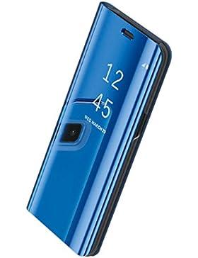 Funda Samsung Galaxy S8 Plus Inteligente Flip Cover Carcasa Hora Clear View Soporte Plegable Espejo Reflexión...