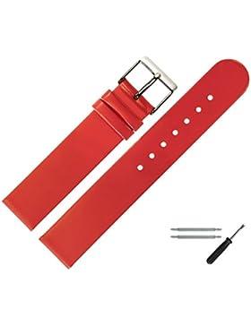 Uhrenarmband 20 mm Leder rot glatt - inkl. Federstege & Werkzeug - Ersatzband für Uhren - Uhrband mit Schlaufe...