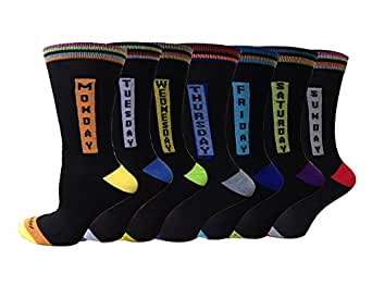 Bluemoon Bedding® 7 Pairs Mens Designer Socks Cotton Rich, Comfortable, Breathable, Non-allergenic Size 6-11 (7 Days, 7 Pairs)
