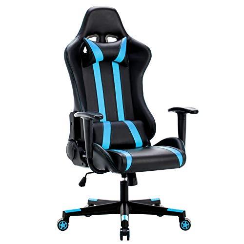 IntimaTe WM Heart Gaming Stuhl, Racing Stuhl, Gamer Stuhl Ergonomischer Bürostuhl, PU Chefsesel Computerstuhl mit Kopfkissen und Taillenstütze, 135° kippbare Rückenlehne (Blau)