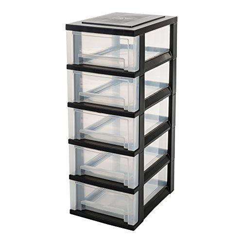 IRIS, Schubladenschrank / Schubladenbox / Rollwagen / Rollcontainer / Werkzeugschrank \'Smart Drawer Chest\', SDC-005, mit Rollen, Kunststoff, schwarz / transparent