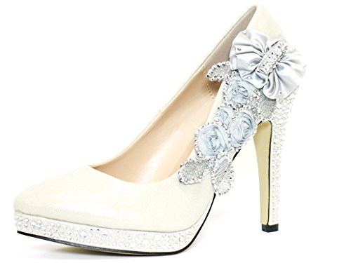 Glitter Gorgeous Wedding Bridal Evening Party Crystal High Heels Women Shoes (6,...