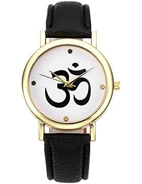 JSDDE Uhren,Modische Damen Armbanduhr Sanskrit OM Symbol Muster Quarz Uhr Freundschafts Lederband Armbanduhr,Schwarz