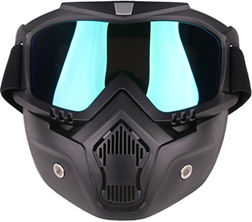 HOME CUBE Motorcycle Goggles Mask Helmet Goggles Road Riding Uv Mouth Filter Cycling Goggles with Detachable Mask One Size Multicolor