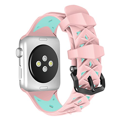 Price comparison product image For Apple Watch Strap 42mm AISPORTS iWatch Strap 42mm Silicone Two-tone Design Smart Watch Band Replacement Strap Stainless Steel Bracelet Buckle Clasp Wrist Strap for 42mm Apple Watch Series 3 / 2 / 1