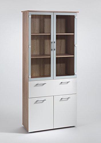CAVADORE Vitrine SWING 03/Glasvitrine in Sonoma Eiche hellbraun mit Klarglaseinsatz/Standvitrine mit 2 Glastüren mit bedrucktem Rahmen in weiß/4 Türen und 1 Schublade/84 x 184 x 36cm (BxHxT) (Tür-bücherregal 3)