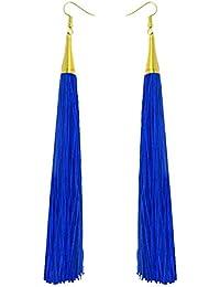 Royal Blue Long Tassel Fashion Earrings For Girls And Women By LuxZery