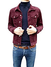 New Retro Vintage Mens Burgundy Cord Corduroy Western Mod Short Jacket 60s 70s