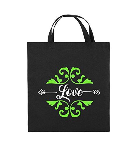 Comedy Bags - Love Ornament - Jutebeutel - kurze Henkel - 38x42cm - Farbe: Schwarz / Weiss-Neongrün Schwarz / Weiss-Neongrün