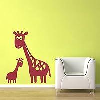Giraffa Adesivo Da Parete In Vinile, Mamma e bambino giraffa adesivi da parete–Oversize Grande giraffa adesivo da parete in vinile da parete–giungla, Vinile, Dark Red, 47