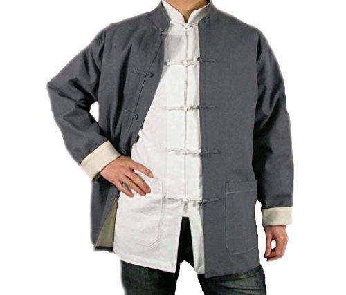 Handgemachte Grauer Kung Fu Tai Chi Feinleinen Jacke von Maßschneider #112
