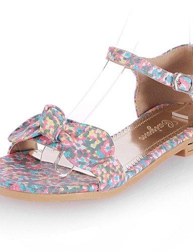 WSS 2016 Chaussures Femme-Décontracté-Noir / Jaune / Rose / Orange-Talon Plat-Bout Ouvert-Sandales-Toile pink-us5 / eu35 / uk3 / cn34