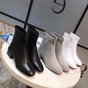 Top Shishang Herbst und Winter Damen sexy Retro-Matte wies dick mit elastischen Martin Stiefel Chelsea Stiefel und Stiefeletten westlichen Stiefeletten