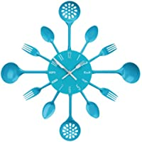 Premier Housewares Reloj de pared, diseño de cubiertos, color azul