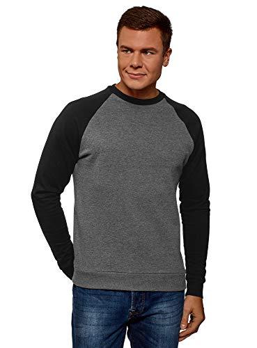 oodji Ultra Herren Baumwoll-Sweatshirt mit Kontrast-Ärmeln, Grau, DE 50 / M -