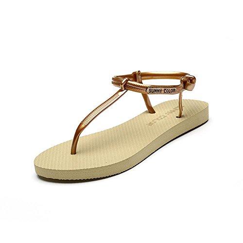 ALUK- Été - coréen plat décontracté sandales mode avec des chaussures de plage ( couleur : Or , taille : 39 ) Or