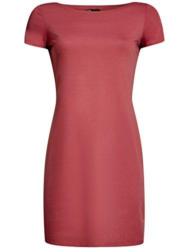 oodji Ultra Damen Jerseykleid mit U-Boot-Ausschnitt, Rosa, DE 42 / EU 44 / XL