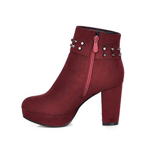 AgooLar Damen Blend-Materialien Mitte-Spitze Gemischte Farbe Ziehen auf Hoher Absatz Stiefel, Grau, 33