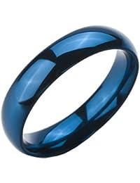 MunkiMix Ancho 5mm Acero Inoxidable Anillo Ring Banda Venda Azul Alianzas Boda Hombre,Mujer