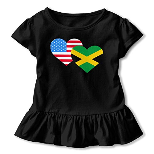 Toddler Baby Girl American Jamaica Heart Flag Funny Short Sleeve Ruffle T Shirt - American Heart Baby T-shirt