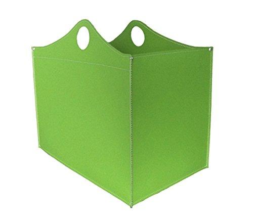 CONTENITORE WB: Coffre de Rangement en cuir régénéré (pas Faux cuir) de couleur Vert foncé, doté de roues gommées.