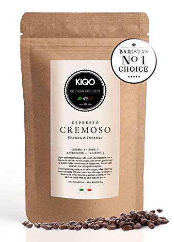 KIQO Cremoso Espresso aus Italien | in schonenden Kleinstchargen geröstet | säurearm | 15% Arabica & 85% Robusta Bohnen