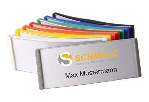 Schmalz Werbeservice 10 Stück Kunststoff Namensschild 75x30mm versch. Farben ABS-Kunststoff Nadel/Magnet (Silber-grau) (Kunststoff Grau Silber)
