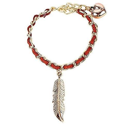 Winter réglable Secret de femme à tricoter à la main Pendentif feuille Marron simple Lien Bracelet