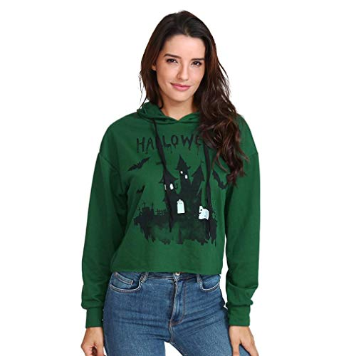Schloss Print Langarm-Hoodie-Womens Halloween Shirt Langarm Bluse mit Kapuze Sweatshirt-Jumper Pullover Oberteile -Rundhals Ausschnitt lose -Damen Pulli t-Shirt (Grün,XL)
