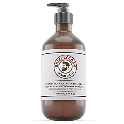GRIZZLY ADAM Beard Wash - A Gentle Beard Shampoo Large 200ml - Conditioner Formulated Specifically For Beards and Moustache - FREE Delivery With Code FREEP05T