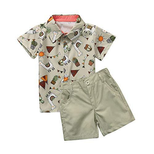 Kostüm Salon Mädchen Grüner - Cuteelf Babyset Kind Jungen Gentleman Cartoon T-Shirt mit Alpakadruck Tops + Shorts Kleidung Kinder Kurzarm Cartoon T-Shirt mit Alpakadruck Einfarbig Shorts
