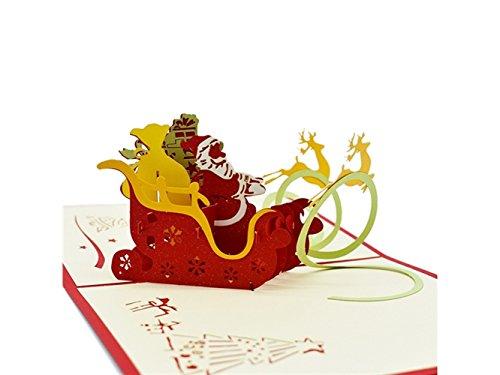 LridSu Geschenkkarten Weihnachtsgrußkarte 3D Pop up Weihnachtsmann Rentier Fahrt Einladungskarte Geschenk mit Umschlag (Rot)