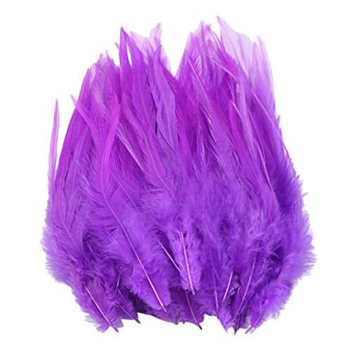 Flügel Kostüm Lila Feder - IPOTCH 50 Stück Hahnenfedern Flügel Federn Hahn Federn Pad Feather Schmuckfeder DIY Kostüm - lila, 130-180 mm