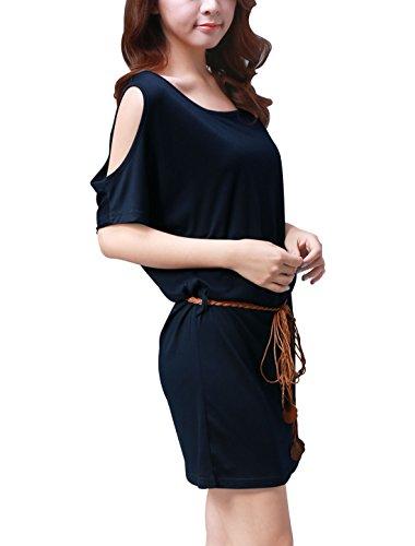 Allegra K Femme Épaule Ajourée Manche Chauve-souris Short Été T-shirt Robes Dark Blue